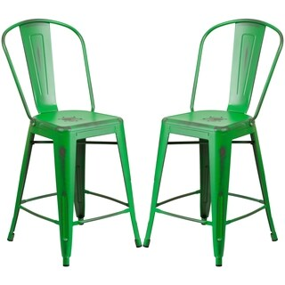 Distressed Green Metal Counter-height Stool