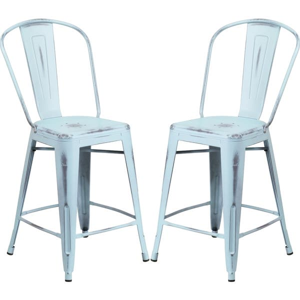Incredible Shop Distressed Dream Blue Metal Counter Height Stool Free Machost Co Dining Chair Design Ideas Machostcouk