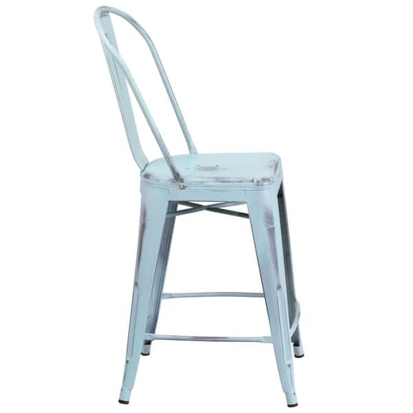 Peachy Shop Distressed Dream Blue Metal Counter Height Stool Free Machost Co Dining Chair Design Ideas Machostcouk