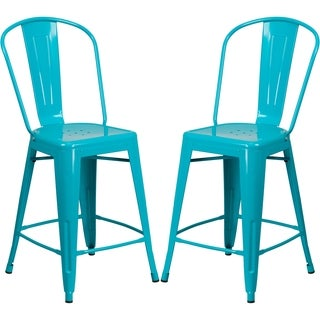 Crystal Teal Blue Powder-coated Metal Bistro-style Counter-height Stool