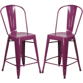 Purple Metal Counter-height Stool