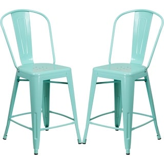 Mint Green Metal Counter-height Stool
