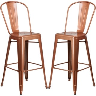 Copper Metal Bistro-style Bar Stool
