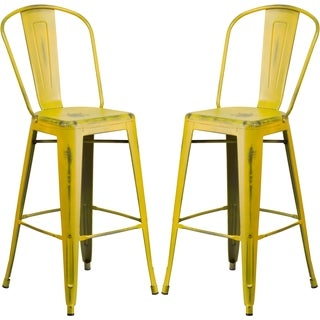 Yellow Distressed Metal Bar-height Stool