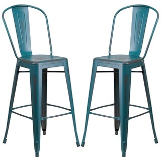 Teal Blue Distressed Metal Bar-height Stool