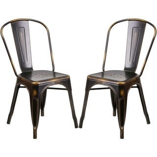 Distressed Copper Metal Bistro-style Chair
