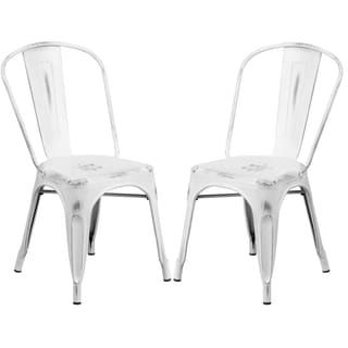 White Distressed Metal Bistro Style Chair