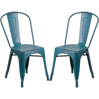 Blue Teal Distressed Metal Bistro Style Chair