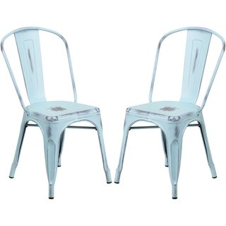 Distressed Dream Blue Metal Bistro-style Chair