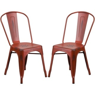 Distressed Red Metal Bistro-style Chair (2 options available)