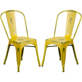 Yellow Distressed Metal Bistro Style Chair