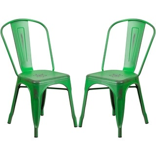 Distressed Green Metal Bistro-style Chair
