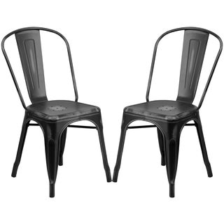 Distressed Black Metal Bistro-style Chair
