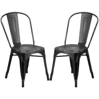 Distressed Black Metal Bistro-style Chair