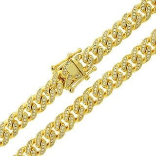 Gold over Silver 9.5mm Cubic Zirconia Iced Out Miami Cuban Curb Link Necklace
