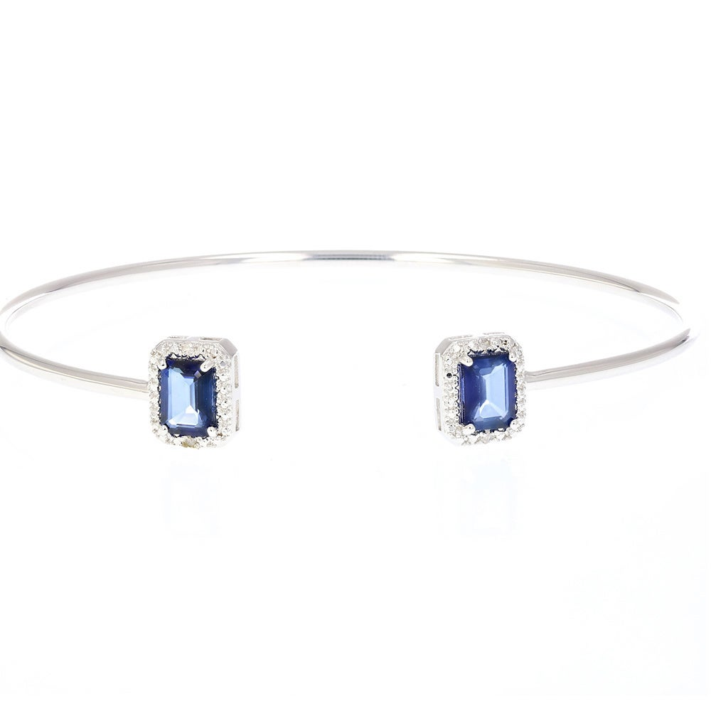 Sterling Silver 1 1/2ct TGW Created Blue Sapphire and Dia...
