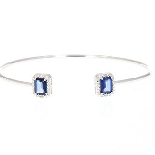 Sterling Silver 1 1/2ct TGW Created Blue Sapphire and Diamond Accent Cuff Bangle