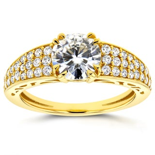 Annello by Kobelli 14k Yellow Gold 1 2/5ct TGW Moissanite (HI) and Diamond Pave Engagement Ring (G-H, I1-I2)