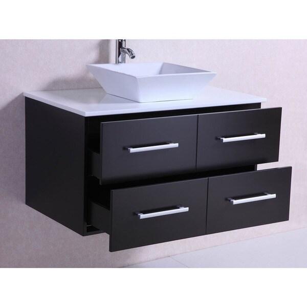 Shop 36 Inch Belvedere Modern Wall Mounted Espresso Bathroom Vanity