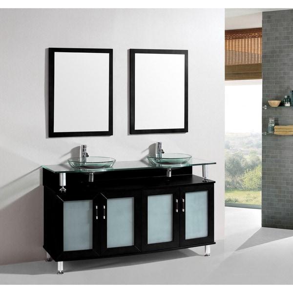 . 60 inch Belvedere Modern Espresso Double Bathroom Vanity with Tempered  Glass Sinks