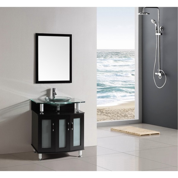 Miraculous 30 Inch Belvedere Modern Espresso Bathroom Vanity With Tempered Glass Top And Basin Home Interior And Landscaping Transignezvosmurscom