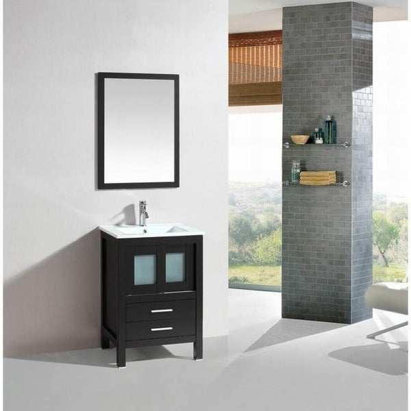 24-inch Belvedere Modern Freestanding Espresso Bathroom Vanity with Ceramic Top
