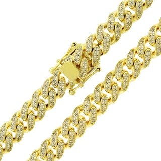 .925 Sterling Silver Yellow Gold Plated Cubic Zirconia Cuban Curb Link Chain (11.5mm)