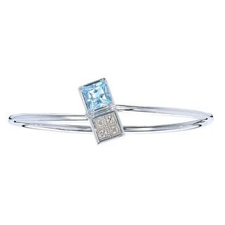 Silver Overlay 2 1/2ct TGW Princess-cut Blue Topaz and Diamond Accent Bangle