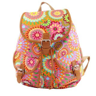 Hearty Trendy Gloria Multicolor Cotton Canvas Floral Print Backpack