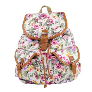 Hearty Trendy White Floral-print Cotton and Canvas Backpack