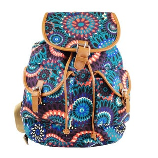 Hearty Trendy Blue Floral-print Backpack