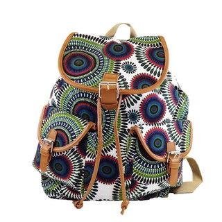 Hearty White Geometric-print Trendy Backpack