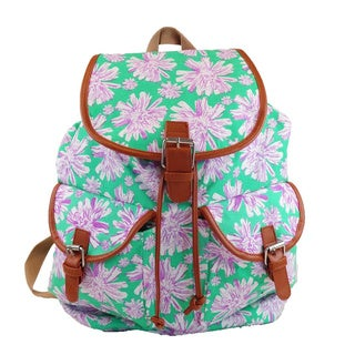 Hearty Trendy Turquoise Floral-print Backpack
