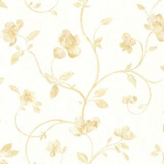 Lyllith Gold Textured Floral Trail Wallpaper