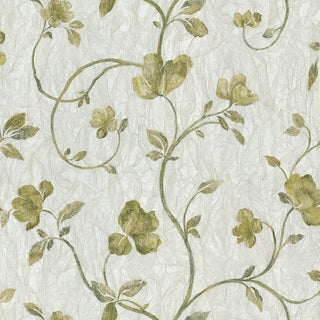 Lyllith Silver Textured Floral Trail Wallpaper