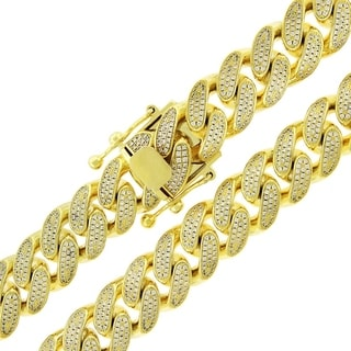 Gold over Silver 14mm Cubic Zirconia Iced Out Miami Cuban Curb Link Necklace