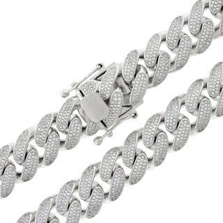 Sterling Silver 15.5mm Cubic Zirconia Iced Out Miami Cuban Curb Link Necklace