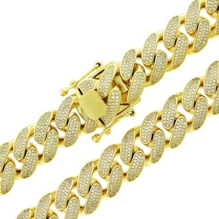 Gold over Silver 15.5mm Cubic Zirconia Iced Out Miami Cuban Curb Link Necklace