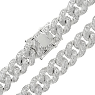 Sterling Silver 16mm Cubic Zirconia Baguette Iced Out Miami Cuban Curb Link Necklace