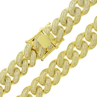 Gold over Silver 16mm Cubic Zirconia Baguette Iced Out Miami Cuban Curb Link Necklace