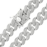 Sterling Silver 18mm Iced Out CZ Baguette Miami Cuban Solid 925 Rhodium Bling Chain Necklace