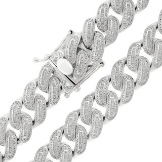 Sterling Silver 18mm Cubic Zirconia Baguette Iced Out Miami Cuban Curb Link Necklace