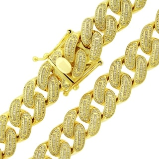 Gold over Silver 18mm Cubic Zirconia Baguette Iced Out Miami Cuban Curb Link Necklace