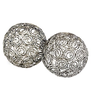 Bola Espiral Antique Nickel Decorative Balls (Set of 2)