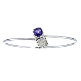 Silver Overlay 1ct TGW Cushion-cut Amethyst and Diamond Accent Bangle