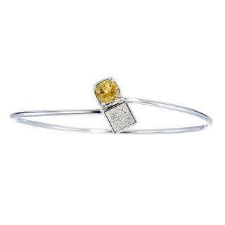 Silver Overlay 1ct TGW Cushion-cut Citrine and Diamond Accent Bangle