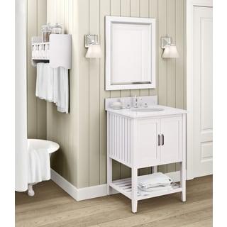 Bennett Marble Sink White 24-inch Bathroom Vanity with Storage Shelf and Mirror Set