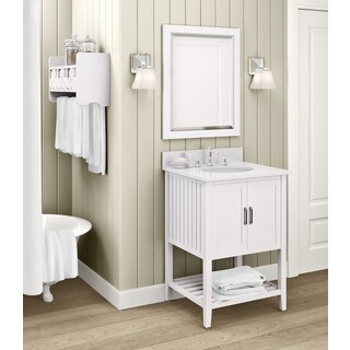 Bennett Marble Sink White 24-inch Bathroom Vanity with Storage Shelf and Mirror Set