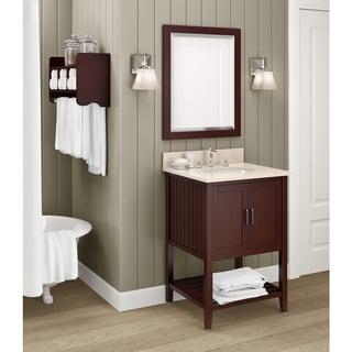 espresso 24 inch bathroom vanity with storage shelf and mirror set