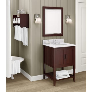 Bennett Marble Sink Espresso 24-inch Bathroom Vanity with Storage Shelf and Mirror Set
